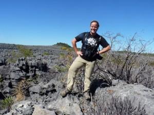Haley and the tsingy landscape of the Ankarana National Park.
