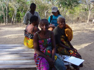 Sylviane conducting questionnaires and surveys in a village in Madagascar.