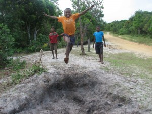 Azafady volunteer Child jumping