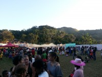 The crowd at the concert among beautiful forested hills
