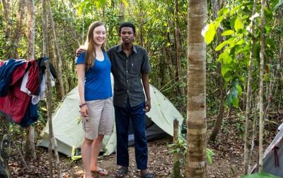 Jen with Jocelyn in camp.