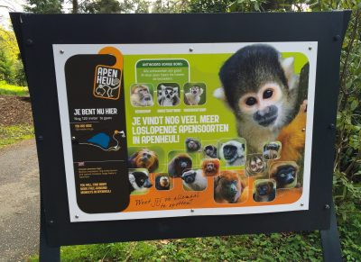A sign near the entrance of Apenheul, explaining the many primate species in the park.