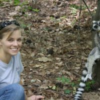 Author Katie Grogan with lemur catta