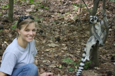 Author Katie Grogan with lemur catta