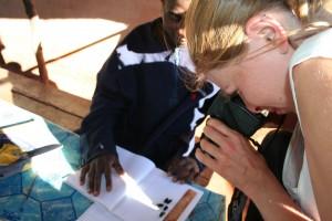 Bristol Zoological Society Felicia inspecting Lepilemur poo