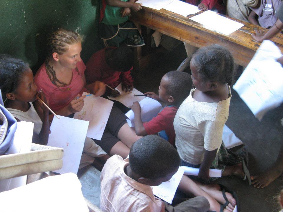 Azafady volunteer drawing in conservation club.