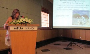 Lisa giving a presentation at the 2014 International Primatological Society meetings in Hanoi, Vietnam.