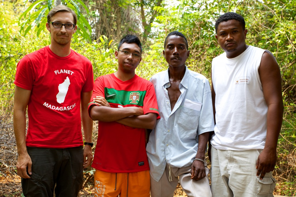Travis Steffens (left) with Planet Madagascar staff.