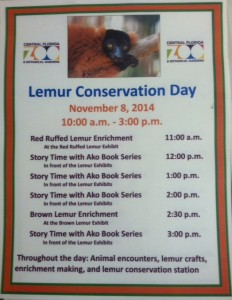 The schedule for Lemur Conservation Day at the Central Florida Zoo