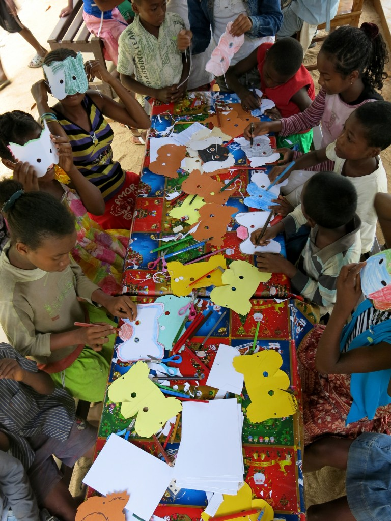 Lemur crafts for the children at the Madagascar Fauna & Flora Group World Lemur Festival in Madagascar.