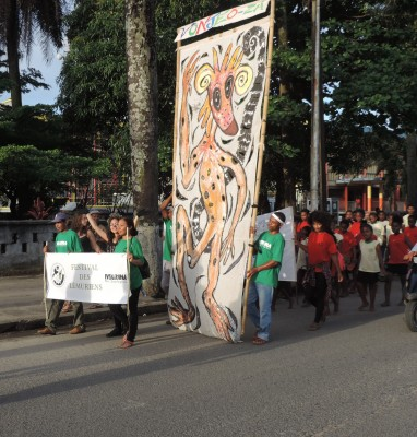 Parade in Tamatave, featuring giant lemur painting. Photo courtesy of Madagascar Fauna and Flora Group.